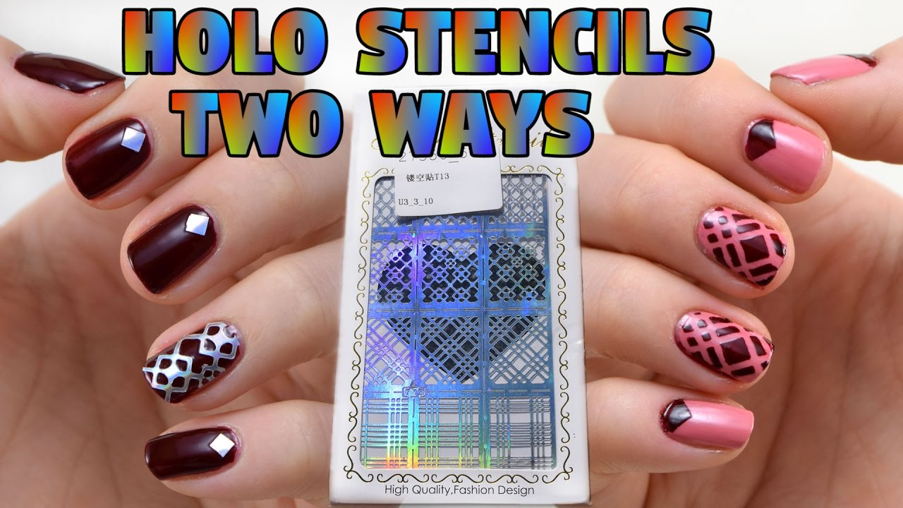One Stencil Two Ways Holographic Nail Art