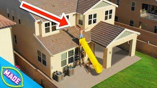 We Built a Slide Off J-Fred's House!!