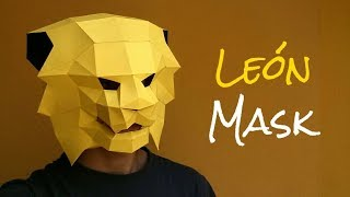 Cómo hacer una máscara de león con papel opalina o cartulina | Momuscraft