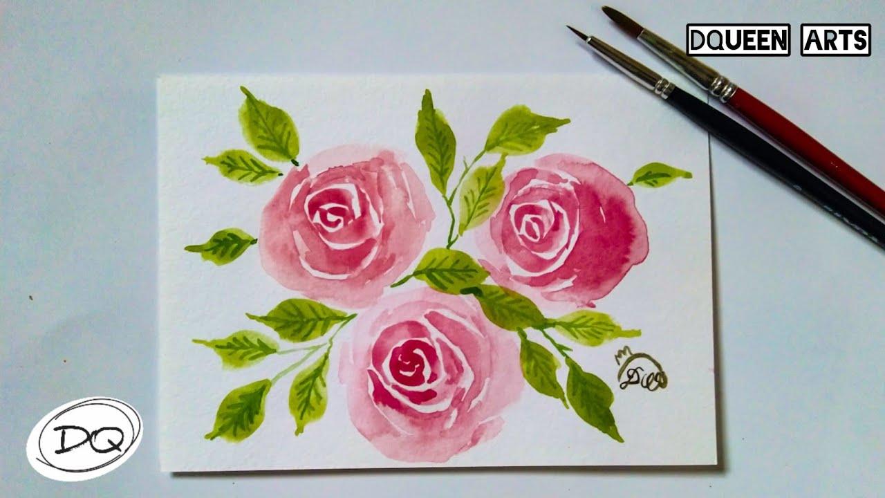 Paling Simple Cara Melukis Bunga Mawar Dengan Cat Air Youtube