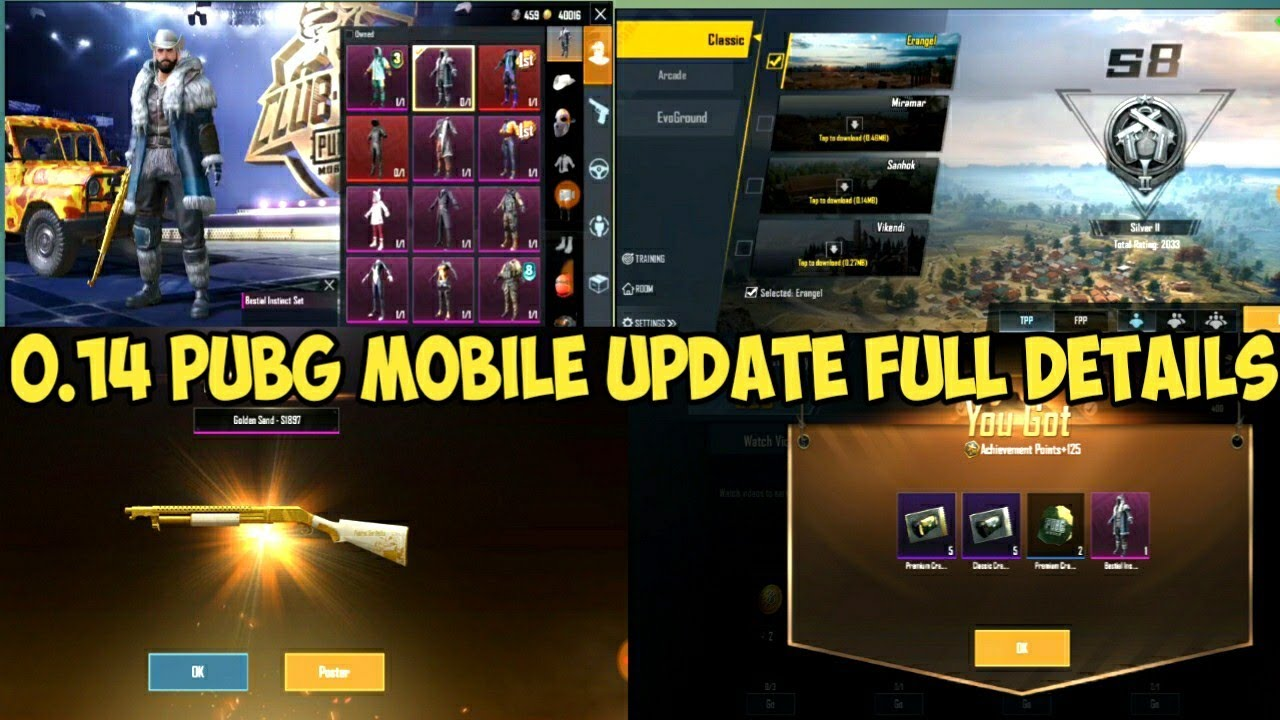 PUBG MOBILE 0.14 UPDATE LAUNCH || FULL INFORMATION || ALL NEW ACHIEVEMENT DETAILS ||