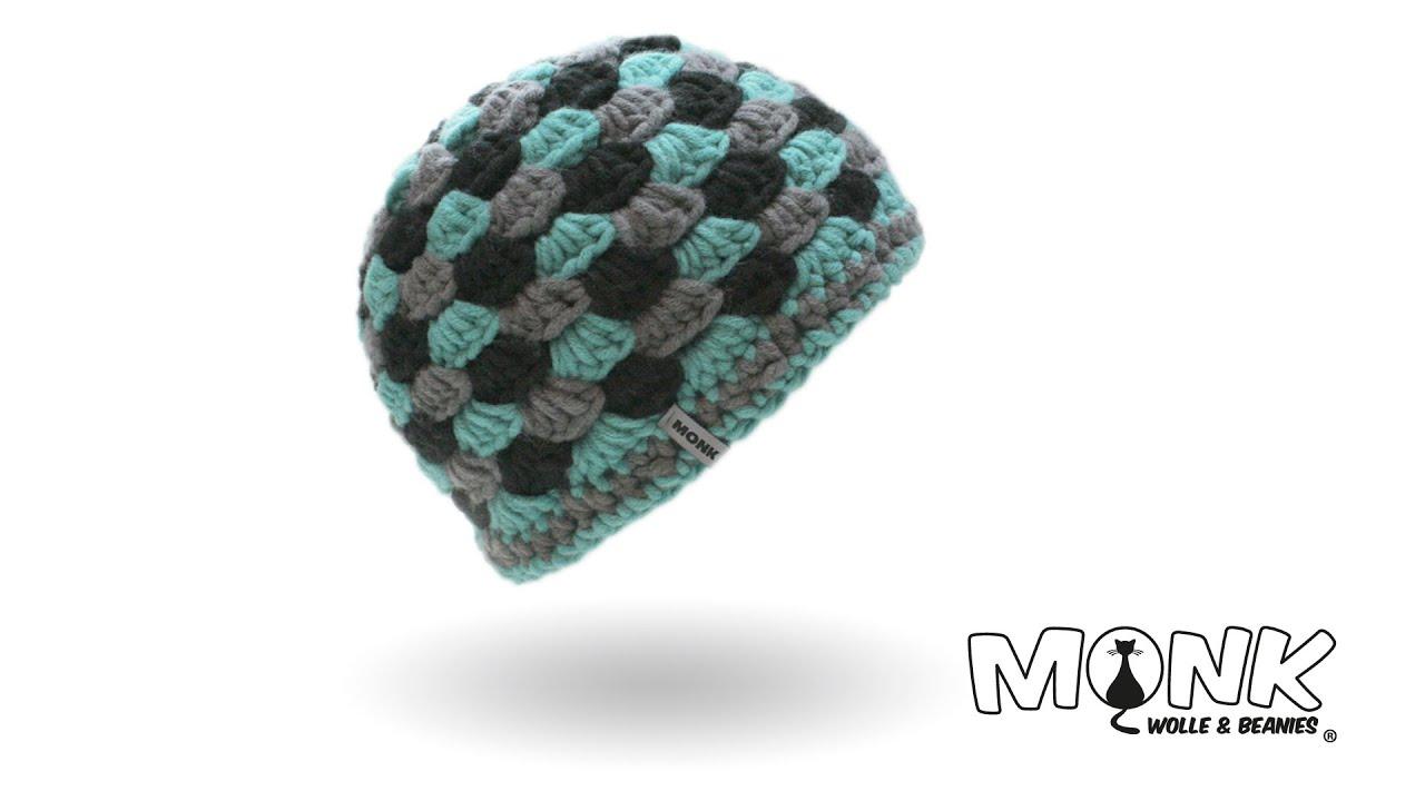 Mütze häkeln - Beanie im Muschelmuster häkeln - YouTube