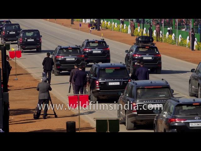 PM Modi's cavalcade arrives at Republic Day Final 2020 - Range Rover, Toyota Fortuner, Scorpio
