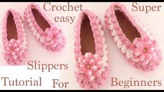 Faça Sapatos de Crochê – Tranças de Malha e Puff com Flores 3D