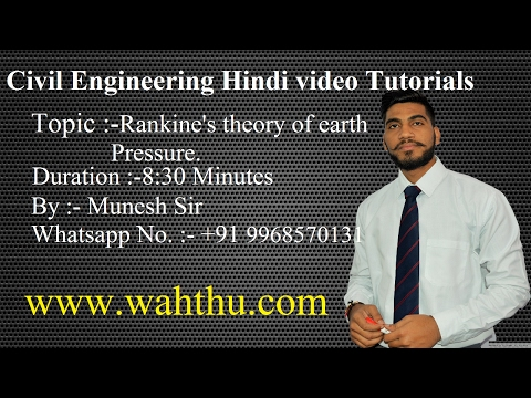 Rankine's theory of earth pressure | Civil engineering lectures | part 2