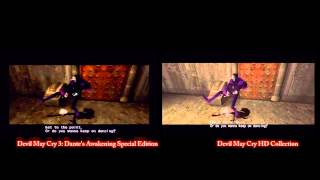 Devil May Cry 3 side by side comparison with HD Collection