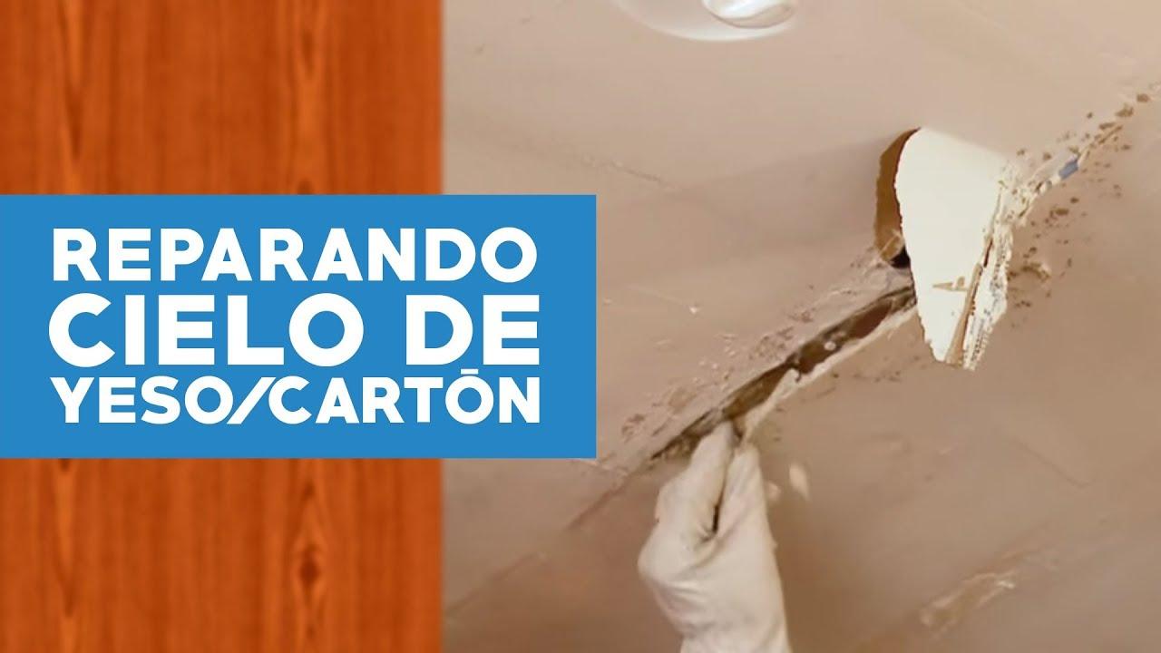 cómo reparar un cielo de yeso cartón dañado por la humedad? - youtube