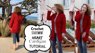 Statement Heart Cardigan Crochet Tutorial