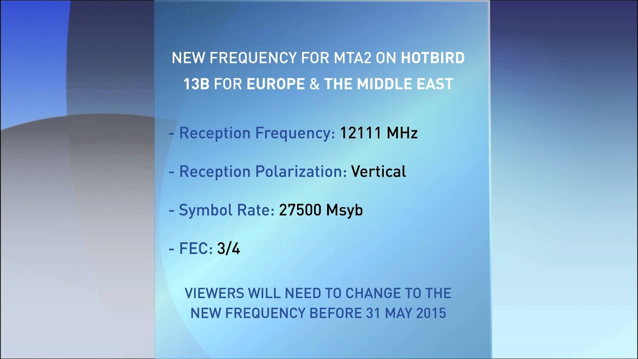 Satellite Frequency details - European