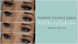 {12 MORE Pairs} Red Cherry Eyelashes Try-On/Demo