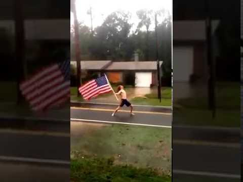 Floridian Metalhead American Flag during Hurricane Matthew