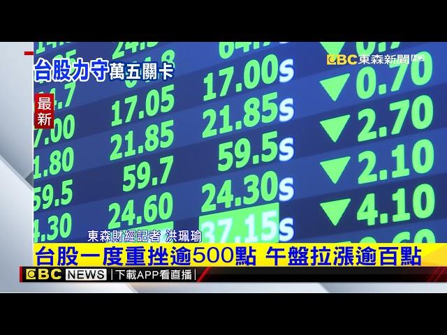 最新》台股一度重挫逾500點 午盤拉漲逾百點 @東森新聞 CH51