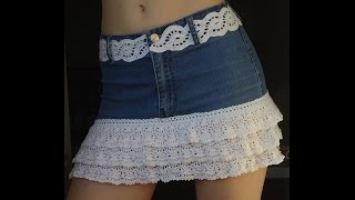 Юбка из старых джинсов. Мастер-класс. How to Make  Old  Jeans into Skirt. Tutorial.