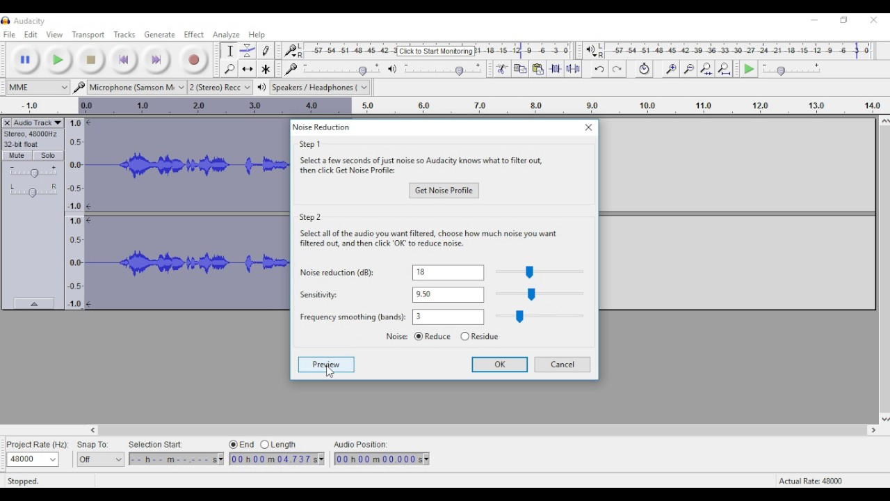how to cut out background noise in audacity