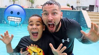 Last to Leave Freezing Cold Swimming Pool Wins | FamousTubeKIDS