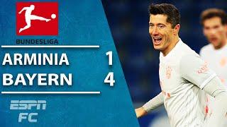 Robert lewandowski and thomas muller both score twice to send european champion bayern munich second in the german bundesliga with a 4-1 win vs. arminia b...