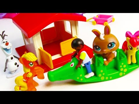 MLP Play House Crocodile Seesaw Playmobil Opening Frozen Olaf Apple Jack Bloom Toy Review