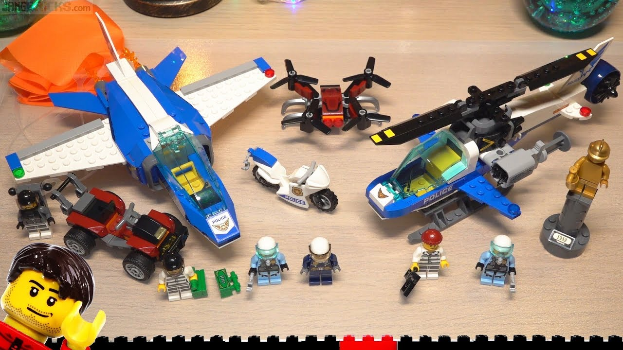 Builds Lego City Sky Police Parachute Arrest Drone Chase 60208
