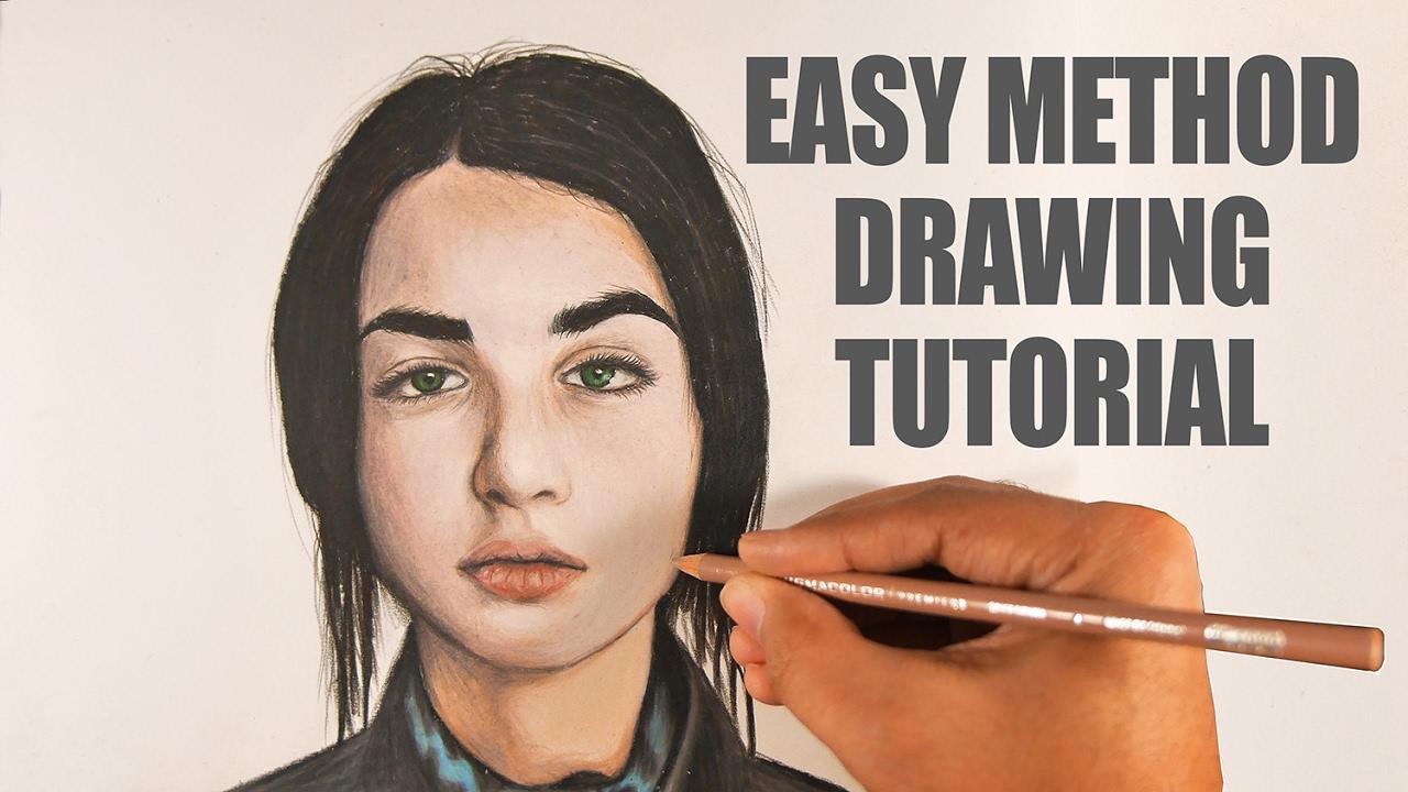easy color pencil portrait tutorial youtube