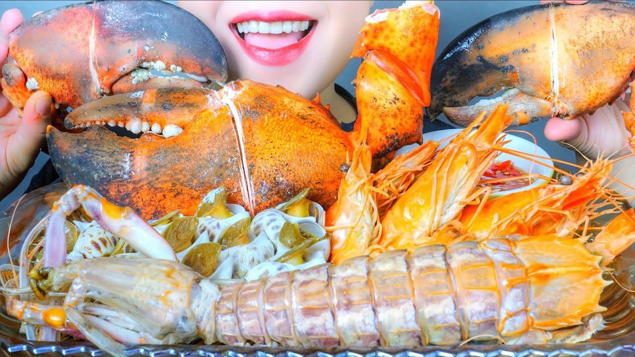 ASMR SAEFOOD PLATTER (MANTIS SHRIMP, LOBSTER CLAW, SWEET SNAIL ,SHRIMPS) EATING SOUNDS   LINH-ASMR