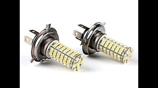 Светодиодные лампы H4 из Китая. Видео №1(Ссылки http://www.aliexpress.com/item/2-x-Xenon-White-Parking-H4-LED-12V-Light-Car-LED-Fog-Daytime-Running-Light-Bulbs/1582843165.html ..., 2014-03-12T18:35:02.000Z)