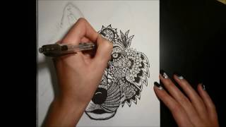 How to draw MANDALA WOLF