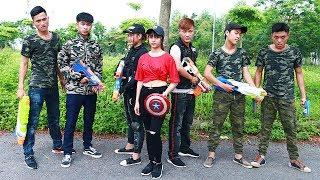 Superhero action Spiderman Two Sisters SWAT Nerf guns Kidnapper Good Man Rescue cute Girl Nerf war