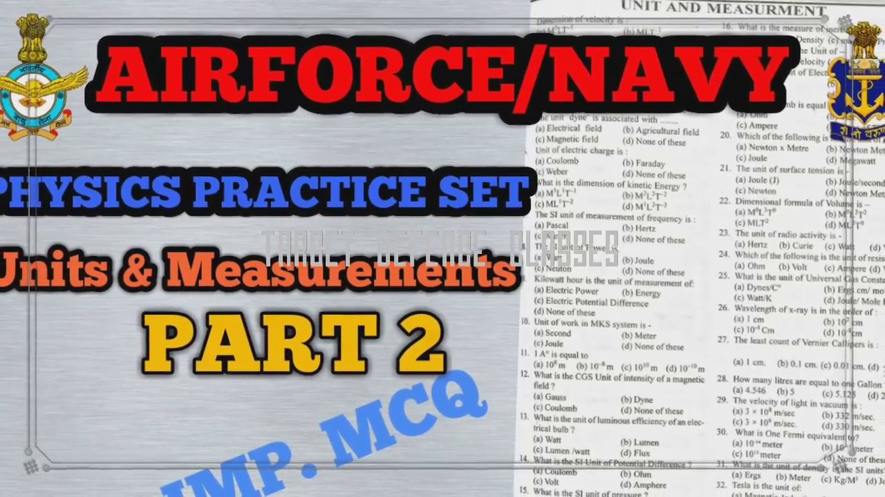 PHYSICS PRACTICE SET || Units & Measurements || NAVY