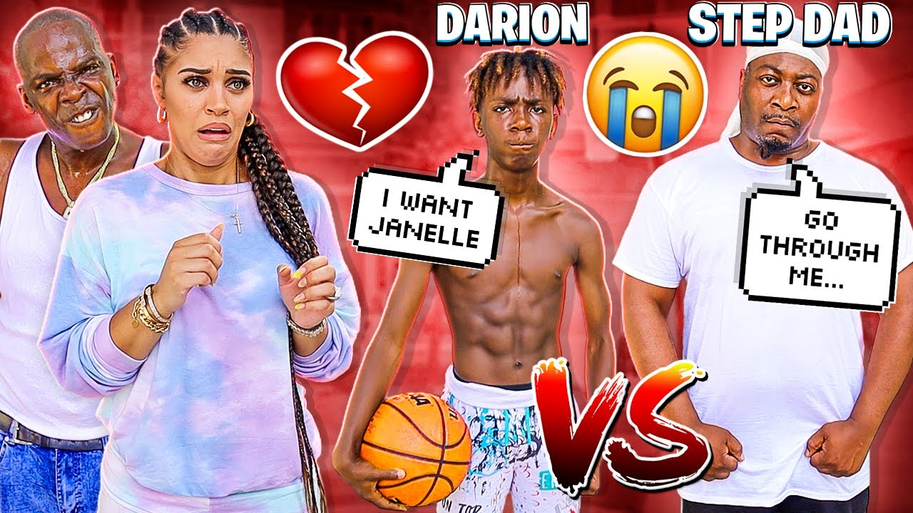1 VS 1 BASKETBALL GAME MY 13 YEAR OLD BROTHER DARION VS MY STEP DAD MARVIN 💔😭 *WINNER GETS JANELLE*