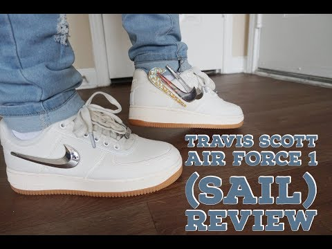 """TRAVIS SCOTT NIKE AIR FORCE 1 LOW """"SAIL"""" REVIEW & ON FEET"""
