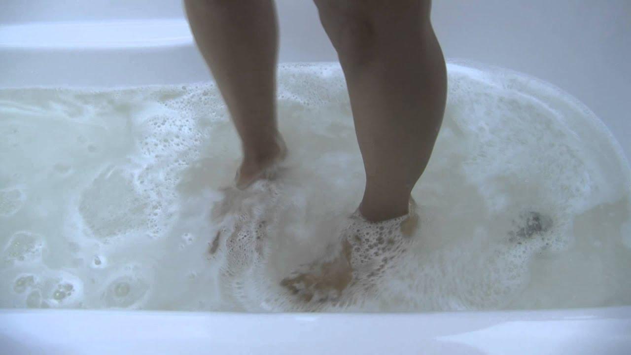 This is a hair-clogged bathtub-use Drain Weasel to fix ...