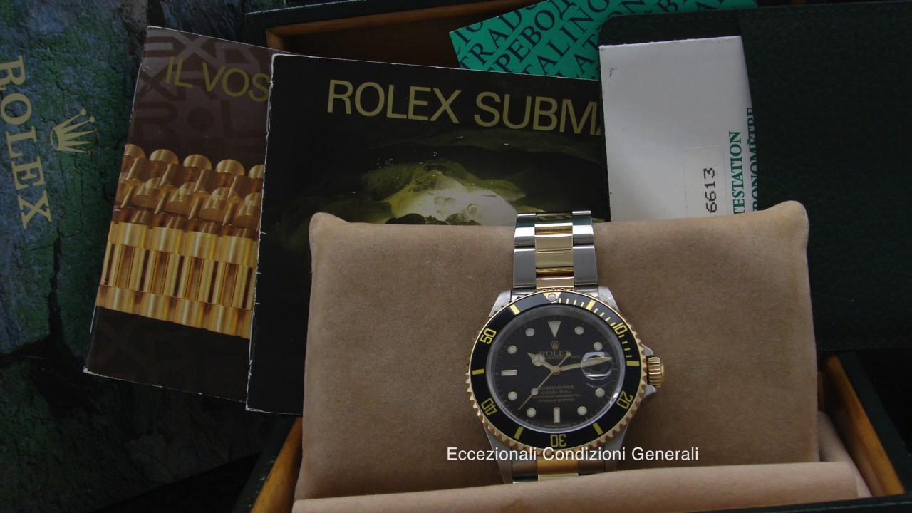 miglior sito web b8e56 36493 Rolex Submariner Acciaio e Oro Ref 16613