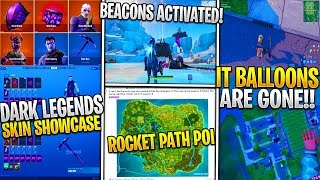 * NUEVO * Fortnite IT Collab Globos GONE! *Cancelled?*, Dark Legends Pack HD Showcase, BEACONS ACTIVE!