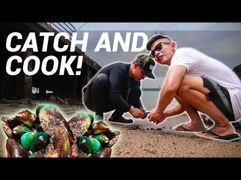 Fresh Mussels & Fishing Along Singapore Shores!   Facepalmfishing
