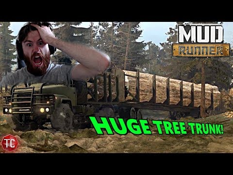 SpinTires MudRunner Mods: GIANT TREE TRUNK!! Biggest Load of Lumber Yet?