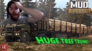 SpinTires MudRunner Mods: GIANT TREE TRUNK!! Biggest Load of Lumber...