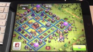 Clash of Clans: How to attack to blue wall village with only MINIONS + 4 lighting spells.