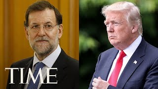 days after nfl feud donald trump holds joint press conference with spains president rajoy time