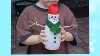 как сделать снеговика из пластиковых бутылок пошаговая инструкция