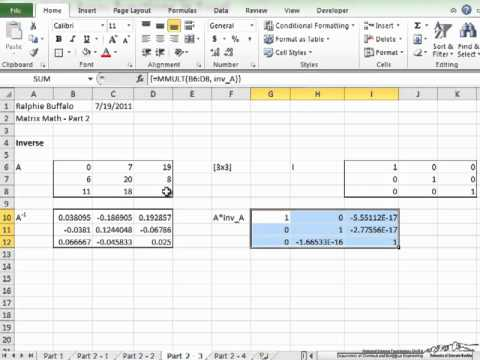 how to solve matrix in excel