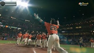 posey belts a walk off homer in the 17th