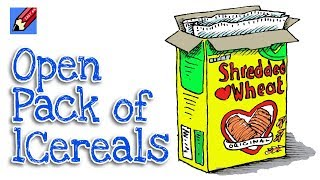 How to Draw an Open Cereal Box Real Easy for Kids & Beginners