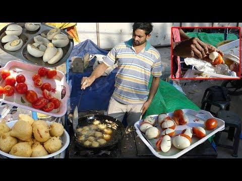 Half Tomato Half Egg Bajji | Hybrid Fritters | Food Experiments | Kik TV Street Food/A5