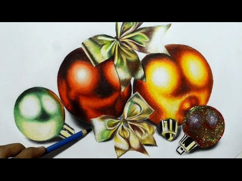 Drawings Of Christmas Ornaments.Drawing Realistic Ornaments Christmas 2015