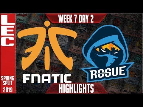 FNC vs RGE Highlights   LEC Spring 2019 Week 7 Day 2   Fnatic vs Rogue