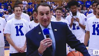 Post-Game Ceremony: Coach K