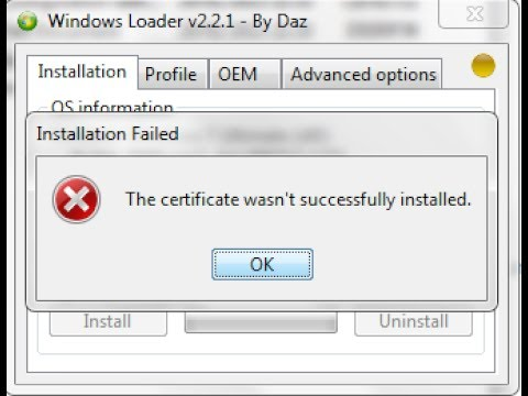 cara mengatasi windows loader error the certificate wasn t