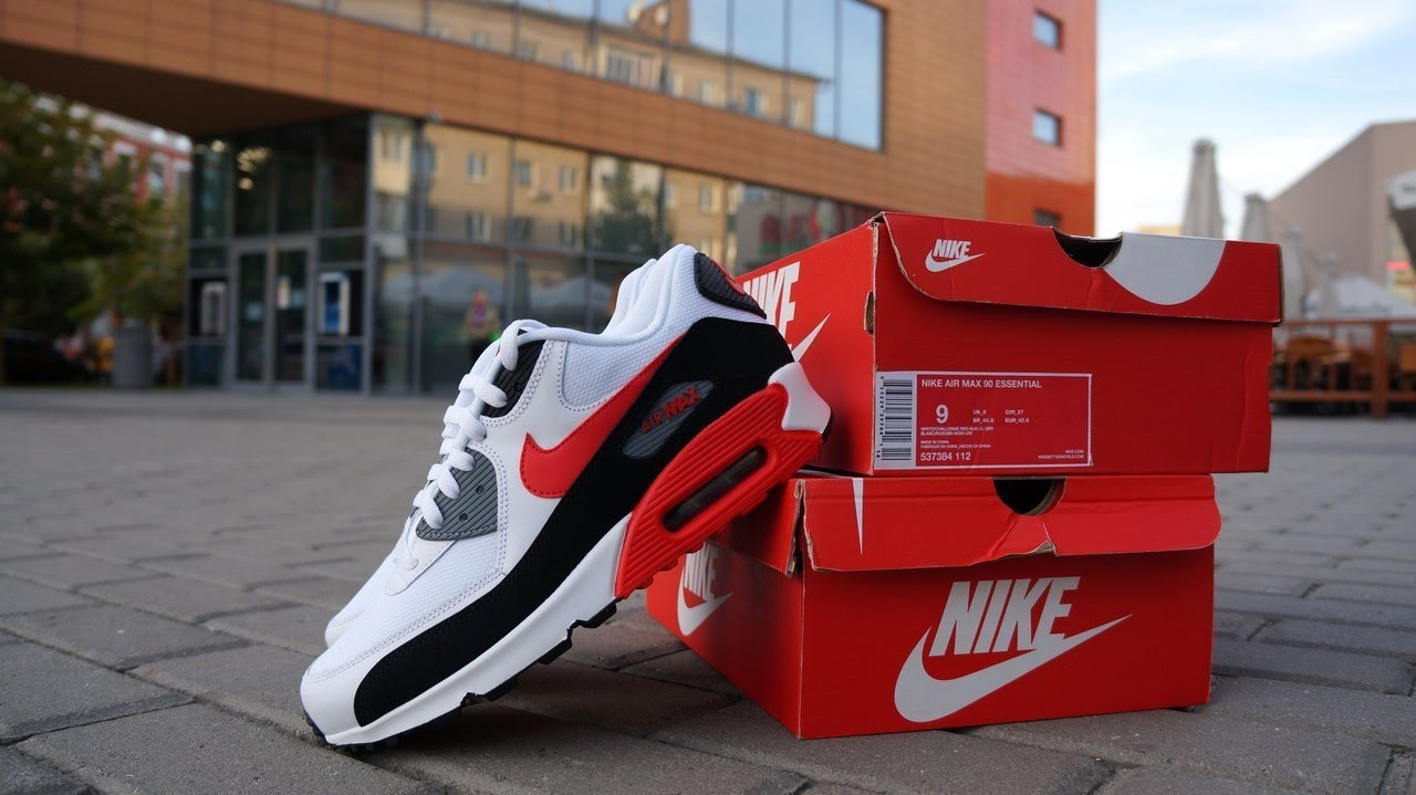 4e9d79941adf Nike Air Max 90 Essential White Challenge Red Cool Grey - YouTube