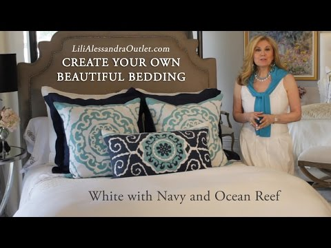 Create Your Own Beautiful Bedding - White with Navy and Ocean Reef