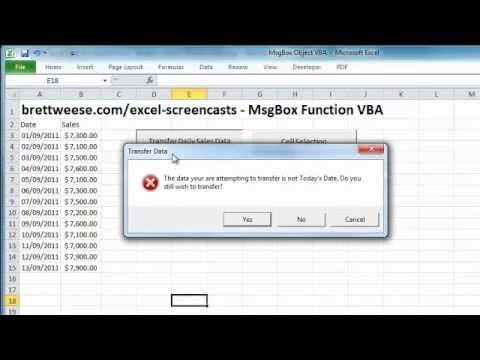 Excel VBA - MsgBox Function - YouTube